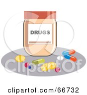 Royalty Free RF Clipart Illustration Of Pills By A Drug Bottle by Prawny