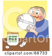 Royalty Free RF Clipart Illustration Of A Man Holding A Giant Pill by Prawny