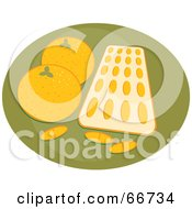 Royalty Free RF Clipart Illustration Of A Tray Of Orange Flavored Vitamins With Oranges On Green by Prawny