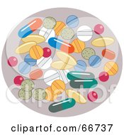 Royalty Free RF Clipart Illustration Of A Group Of Various Pills On Purple by Prawny