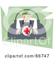 Royalty Free RF Clipart Illustration Of A Tired Doctor Slumped Over A Medical Bag Over Green