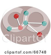 Royalty Free RF Clipart Illustration Of A Red And Teal Molecule