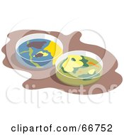Royalty Free RF Clipart Illustration Of Two Scientific Petri Dishes