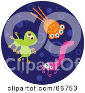 Royalty Free RF Clipart Illustration Of Colorful Bacteria On A Dark Blue Circle by Prawny