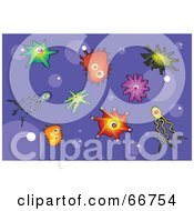 Royalty Free RF Clipart Illustration Of A Purple Background With Bubbles And Colorful Bacteria by Prawny