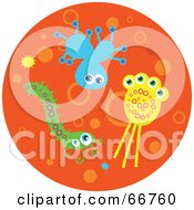 Royalty Free RF Clipart Illustration Of Colorful Bacteria On An Orange Circle by Prawny
