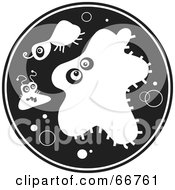 Royalty Free RF Clipart Illustration Of A Black And White Circle Of Bacteria by Prawny