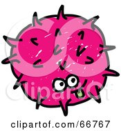 Royalty-Free (RF) Clipart Illustration of a Spiky Pink Germ by Prawny