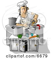 Poster, Art Print Of Dirty Chef Smoking While Cooking In A Kitchen