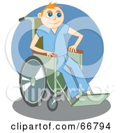 Royalty Free RF Clipart Illustration Of A Jolly Disabled Man In A Wheelchair