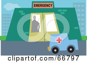 Royalty Free RF Clipart Illustration Of A Silhouetted Emergency Room Worker Looking Out At An Ambulance
