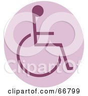 Royalty Free RF Clipart Illustration Of A Purple Wheelchair Circle