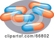 Royalty Free RF Clipart Illustration Of Blue And Orange Pills On A Gray Oval by Prawny