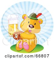 Royalty Free RF Clipart Illustration Of An Oktoberfest Teddy Bear Eating A Pretzel And Drinking Beer by Pushkin