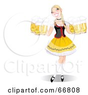 Royalty Free RF Clipart Illustration Of A Beautiful Blond Oktoberfest Lady Serving Beers With Copyspace