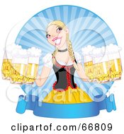 Blond Beer Maiden Serving Frothy Beers At Oktoberfest Over A Blank Blue Banner