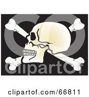 Royalty Free RF Clipart Illustration Of A Human Skull On Top Of Crossbones On Black by Snowy