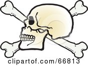 Royalty Free RF Clipart Illustration Of A Human Skull On Top Of Crossbones On White by Snowy