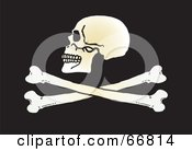 Royalty Free RF Clipart Illustration Of A Human Skull Above Crossbones On Black by Snowy
