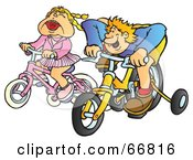 Boy And Girl Racing Bike With Training Wheels
