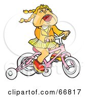 Little Girl Riding A Pink Bike With Training Wheels