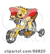Boy Riding A Yellow Bike With Training Wheels