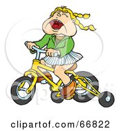 Little Girl Riding A Yellow Bike With Training Wheels