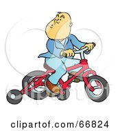 Whistling Boy Riding A Red Bike With Training Wheels
