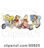 Group Of Four Kids Riding Bikes