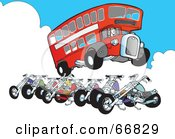 Royalty Free RF Clipart Illustration Of A Double Decker Bus Jumping A Row Of Motorcycles by Snowy