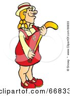 Royalty Free RF Clipart Illustration Of A Blond Hockey Player Girl In A Red Uniform by Snowy