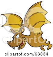 Royalty Free RF Clipart Illustration Of A Fanged Brown Vampire Bat Flying by Snowy
