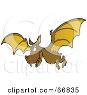 Royalty Free RF Clipart Illustration Of A Grinning Brown Vampire Bat by Snowy