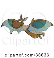 Royalty Free RF Clipart Illustration Of A Grinning Brown And Teal Vampire Bat by Snowy