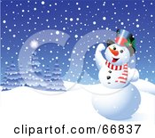 Royalty Free RF Clipart Illustration Of A Happy Snowman Playing In The Snow by Pushkin
