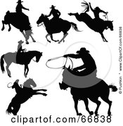 Royalty Free RF Clipart Illustration Of A Digital Collage Of Black Cowboy Silhouettes Version 2