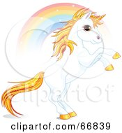 Royalty Free RF Clipart Illustration Of A White And Gold Unicorn Raring In Front Of A Rainbow by Pushkin