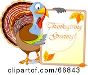 Royalty Free RF Clipart Illustration Of A Turkey Bird Holding A Thanksgiving Greeting Sign