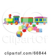 Royalty Free RF Clipart Illustration Of A Toy Train With Blocks And A Ball by Pushkin