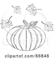 Black And White Halloween Pumpkin With Autumn Leaves