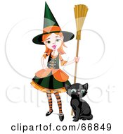 Sassy Little Halloween Witch Girl With A Broom And Kitten