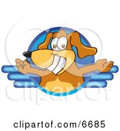 Brown Dog Mascot Cartoon Character Logo With Open Arms