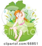 Royalty Free RF Clipart Illustration Of A Green Fairy Holding Up A Leaf To Shield Herself From Rain by Pushkin