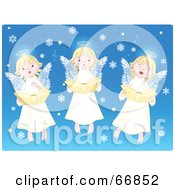 Three Innocent Singing Angels With Snowflakes On Blue