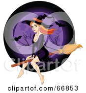 Sexy Redhead Witch Flying In Front Of A Purple Full Moon With Bats