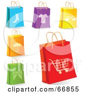 Royalty Free RF Clipart Illustration Of A Digital Collage Of Retail Shopping Bags by Pushkin
