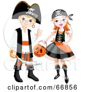 Royalty Free RF Clipart Illustration Of A Boy And Girl In Pirate Halloween Costumes by Pushkin
