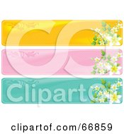 Royalty Free RF Clipart Illustration Of A Digital Collage Of Three Floral Headers