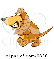 Brown Dog Mascot Cartoon Character With An Angry Grumpy Expression