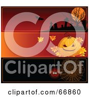 Royalty Free RF Clipart Illustration Of A Digital Collage Of Three Blank Halloween Website Headers Cemetery Pumpkin And Spider Web by Pushkin